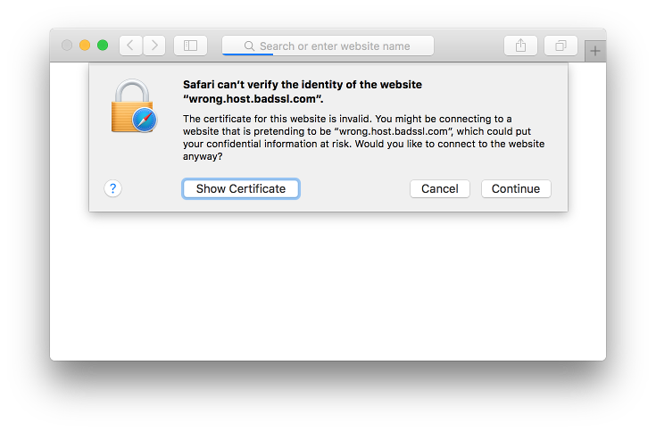 Screenshot of Safari's invalid certificate warning on Mac OS